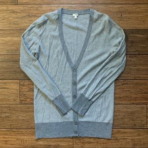 Grey and White Striped V Neck Cardigan